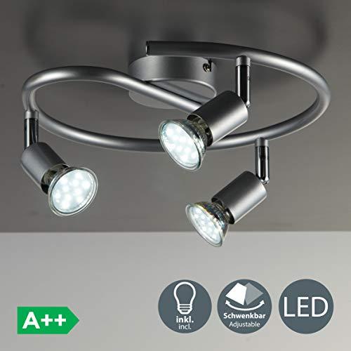 B.K.Licht Lámpara de techo con focos giratoria incl. 3 x 3 W bombillas LED GU10 Aplique de salón