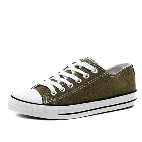 d8c71912a0cf24 Klassische Damen Schuhe Low Top Schnür Sneaker Turnschuhe Army Grün 36