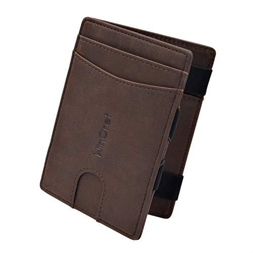 WinCret Geldbeutel Männer Slim Magic Wallet - Leder Klein Geldbörse Herren mit Reißverschluss-Münzfach - RFID-Schutz Kleines Portemonnaie Mini Portmonaise -