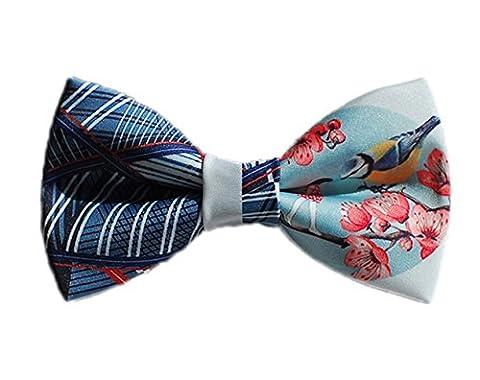 Conception Cravate Pie Textile Printing Manuel Noeud Papillon (Ciel Bleu Bleu Roseo)