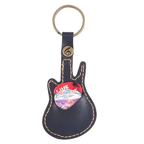 Schlüsselring Leder Paddel Paket Fall Halter für Plektren Gitarre Zubehör mit 5 zufälligen Paddel Gitarre Sweep-Dial Teile - schwarz -
