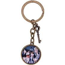 GOTH Perhk BTS Bangtan Boys Love Yourself Vintage Style Bronze Tone Keychain Key Chain Rings Vintage Bronzy Alloy Women Men Keychain for Keys