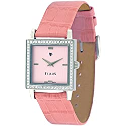 Tellus - Vintage - Luxury Women's watch with silver dial, pink strap in Genuine calf leather, Swiss Made - T5067DI-102