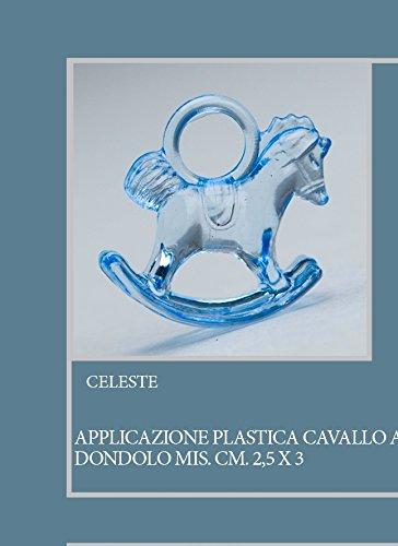 Lot 50 pièces, Bonbonnière application cheval à bascule, en plastique, dimension cm 2.5 x 3, pour marque-place, composition Confetti. (ck6114) bleu ciel