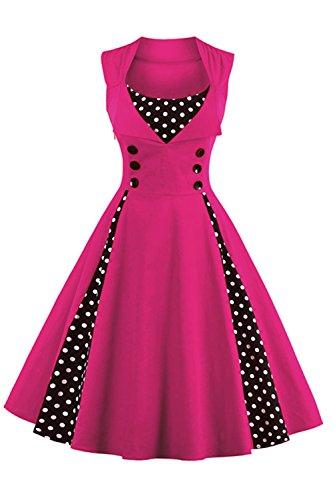 Babyonline Damen 1950 Marilyn Monroe Rockabilly großen Swing Kleid 2XL, Rosa