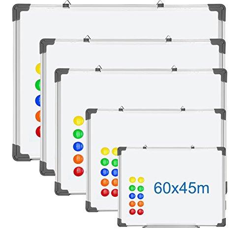 S SIENOC Pizarra blanca doble 150x90cm Escritura Oficina Pizarra Doble Lado +12 Granos Magnéticos (150 x 90 cm)