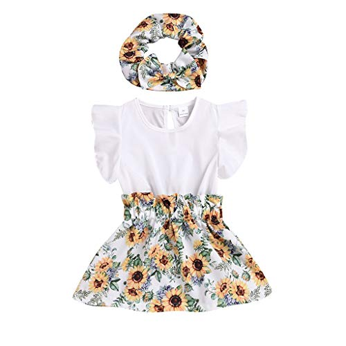 JERFER Dress Baby Mädchen Kurzarm Sonnenblume Drucken Kleid und Stirnband einstellen