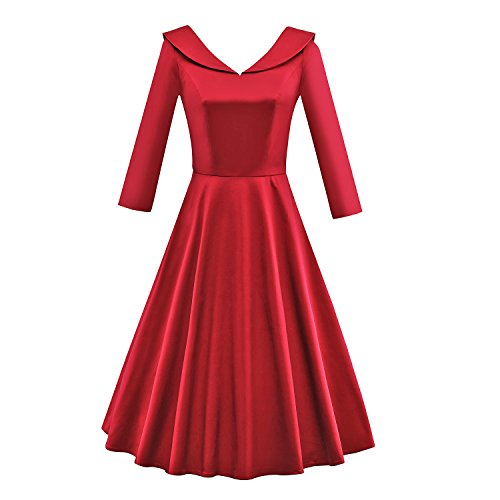 iLover 40s 50s 60s robe manches 3/4 de danse partie de bal rockabilly millésime V112EU-Red