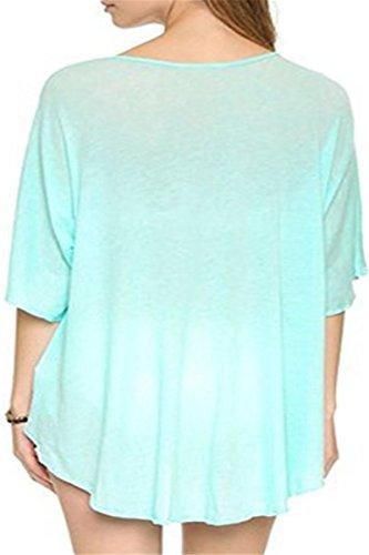 STJD Damen Bikini Cover Up StrandKleid Sommerkleid Strandponcho T-Shirt bluse Blau1