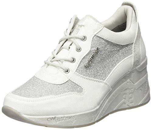 Mustang Damen 1319-301-121 Sneaker Weiß (Weiß/Silber 121), 40 EU (Keil-sneaker Schuhe)