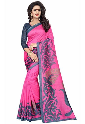 Ishin Art silk Pink Printed Party Wear Wedding Wear Casual Wear Festive Wear Bollywood New Collection Latest Design Trendy Women's Saree/Sari  available at amazon for Rs.399