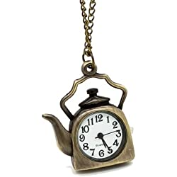Vantasy New Ladies Antique Vintage Bronze Teapot Style Quartz Pocket Watch Chain On Sale Size: 1.54X1.34X0.31
