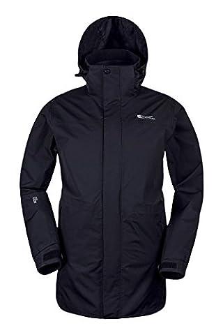 Mountain Warehouse Glacier Extreme Mens Long Waterproof Jacket - IsoDry fabric with Double Storm Flap, Rain Channel, Adjustable Hem, Waist Fit & Detachable Hood Black Small