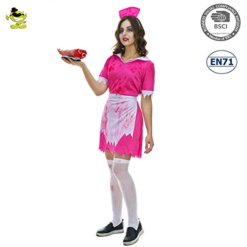 GAOGUAIG AA Frauen Zombie Krankenschwester Kostüme for Halloween Scary Bloody Mary Studenten Rollenspiel Bloody Costume Party for Cosplay SD (Color : Onecolor, Size : Onesize) (Plus Zombie Krankenschwester Kostüm)