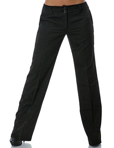 Damen Business Hose Straight Leg (Gerades Bein weitere Farben) No 13572, Farbe:Schwarz;Größe:42 / XL (Leg Loose Straight Jean)