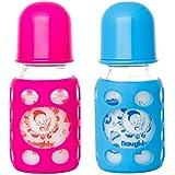 Naughty Kidz PREMIUMWARMER Glass Bottle With Ultrasoft LSR Nipple||Silicone Bottle Warmer||Key TEETHER||Hood Retaining Cap And Sealing DISC RING-120ML+120ML (Pink+Blue)