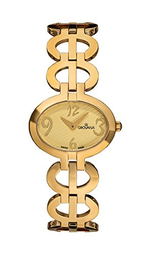 GROVANA 4566.1111 Women's Quartz Swiss Watch with Gold Dial Analogue Display and Gold Plated Stainless Steel Bracelet