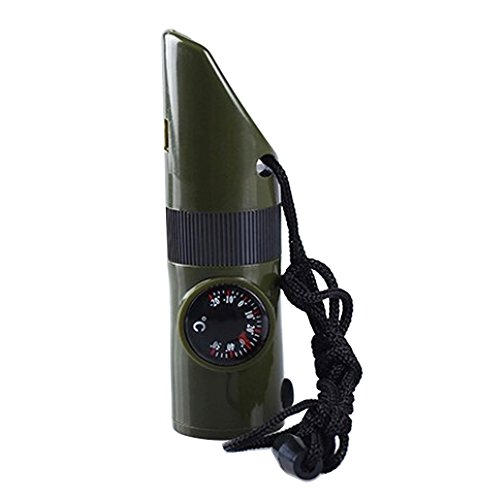 41JIBhWQT4L. SS500  - Bluelans® Multifunctional 7 In 1 Plastic Survival Emergency Outdoor Essential Whistle Viewfinder Compass Army Green