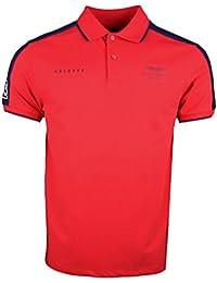Hackett Hombres Slim Fit Camisa de Polo de Cinta Fina Rojo Brillante