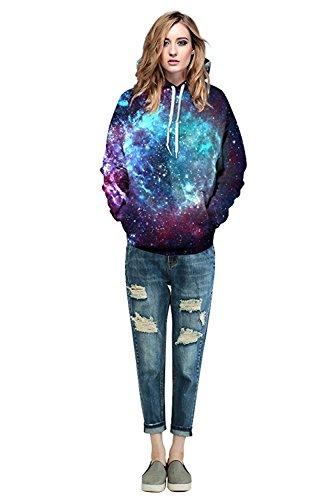 ALICECOCO Herren/Damen Unisex 3D Druck Galaxy Wolf Kapuzenpullover Tops Fashion Hoodie Pullover Sweatshirt Stern C