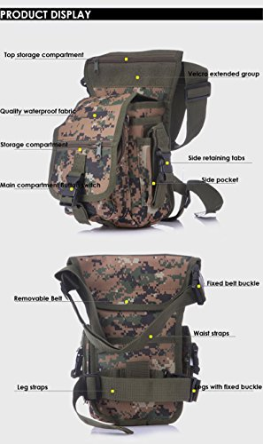 Yumqua Tactical waist gamba borsa, da uomo militare tela all' aperto bici ciclismo multiuso Drop Leg Pack Digital Jungle