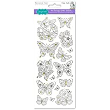 Living in color Paper Craft adesivi arte terapia con glitter, 4in x 9in, color your own adesivi, farfalle