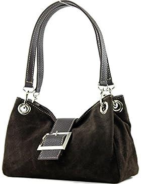 modamoda de - ital. Damentasche Handtasche Tragetasche Henkeltasche Wildleder Klein TL02