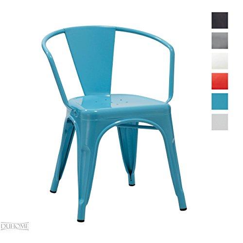 Silla de comedor de metal hierro azul con respaldo estilo vintage apilable diseño industrial seleccion de color Duhome 667