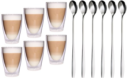 Feelino 6X 300ml XL doppelwandige Latte Macchiato Gläser + 6X L...
