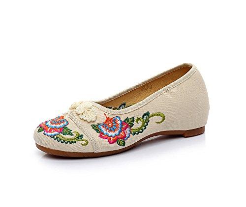 DESY Scarpe ricamate, suola a tendina, stile etnico, scarpe da donna, moda, comodo, casual all'interno dell'aumento , black , 39