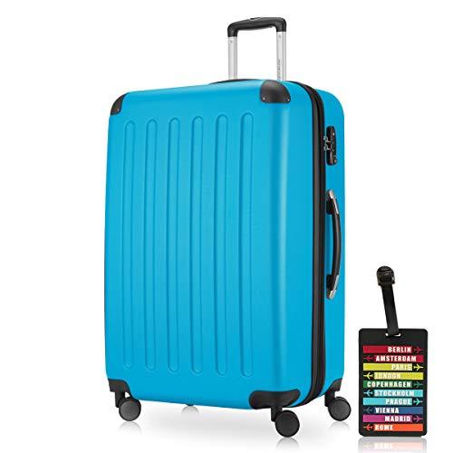 Hauptstadtkoffer - Spree Hartschalen-Koffer-XL Koffer Trolley Rollkoffer Reisekoffer Erweiterbar, 4 Rollen, TSA, 75 cm, 119 Liter, Cyan Blau inkl. Design Kofferanhänger