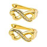 Muzhili3 - Pendientes para mujer, diseño hueco de la suerte, 8 circonitas incrustadas, con cierre de clip, color oro rosa Golden
