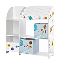 SONGMICS Toy and Book Organiser for Kids, Multi-Functional Storage Unit with 2 Storage Boxes, High Capacity, Universal Theme, for Playroom, Bedroom, Living Room, White GKR42WT