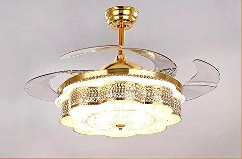 CTREKE Deckenventilator Licht LED Schlafzimmer Wohnzimmer Kind Deckenventilator Wohnkultur unsichtbar einfach modern Höhe 42cm * Durchmesser 50cm dimmbar Fernbedienung -