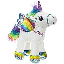 Unicornio con alas de pie 34 cm color arco iris - Calidad supersoft
