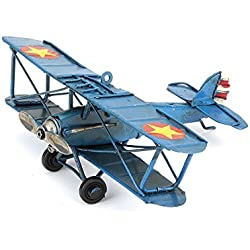Vintage Bi Plane Model Blue (metal) Handcrafted by Hugs & More