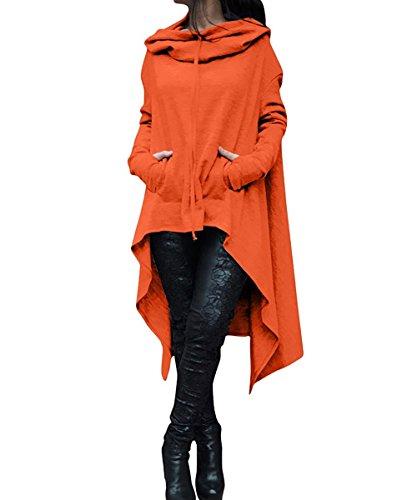 BienBien Pullover Lungo Donna Felpa Cappuccio Collo Alto Oversize Sweatshirt Maniche Lunghe Vestito Felpe Tumblr Ragazza Invernali Casual Hoodies Maglietta Jumper Tops Arancione