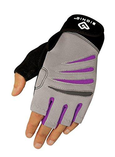 BIONIC Glove Damen Fitnesshandschuhe, fingerlos, mit natürlicher Pass-Technologie, Grau/Violett, 1 Paar, Damen, Gray/Purple, Medium - Usa Fingerlose Handschuhe