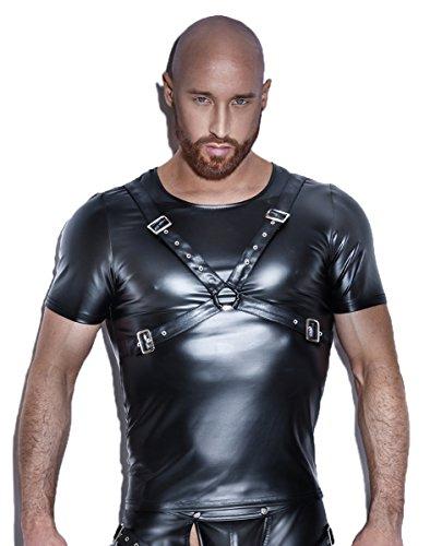 Kostüm Kinky - Noir Handmade Clubwear Powerwetlook T-Shirt schwarz Fetischkleidung Größe XL