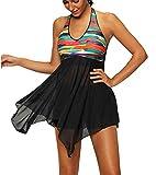 Laorchid Damen Bikini Set Zweiteilig Bademode mit Hohe Taille Hose Bauchweg Plus Size (XL(EU 42), Bunt)
