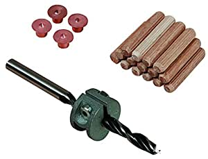 Wolfcraft 2916 - Set composto da punta da trapano per legno, limitatore di profondità, puntine di centraggio e spine in legno da 6 mm