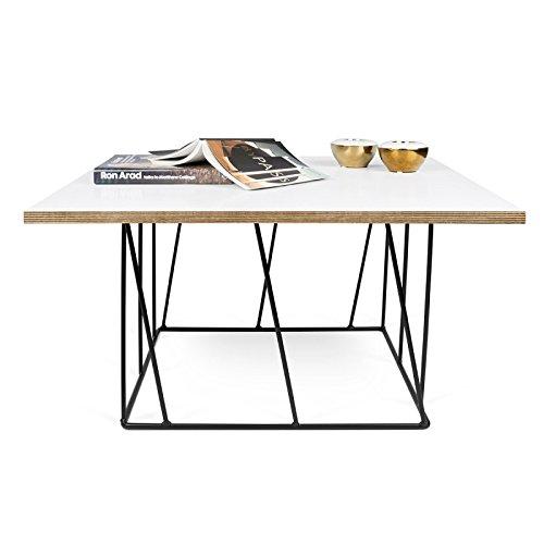 Paris Prix - Temahome - Table Basse Helix 75cm Blanc Mat & Métal Noir