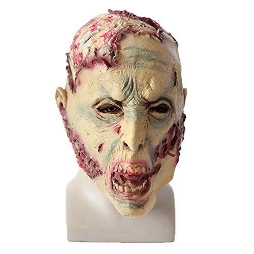 Skxinn Halloween Maske Sinister Die Horror-Maske aus Latex Zombie Zum Gruseln Cosplay Partei-Kostüm-Abendkleid Für Männer und Frauen(H,One size) (Muskel Mann Kostüm Kind)