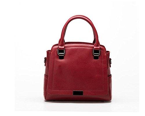 Primo strato di borse in pelle in pelle, borse, sacchetti delle signore, borse a tracolla, Borse donna Messenger Red wine