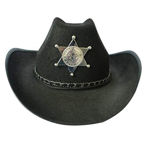 pinruitai Damen Halloween-West-Cowboy-Kostüm Sheriff Venedig Hut Herren Kuh Junge Hut - Kaffee Topf Kostüm