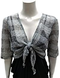aa1be2299fa83b Womens Ladies Lace Knit 3/4 Sleeve Striped Bolero Shrug Cardigan Jacket Tie  Evening Wear