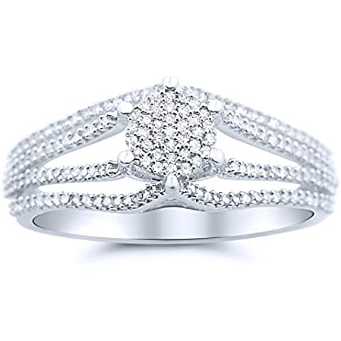 MidwestJewellery.com 0,3Cttw-Rings-Anello da donna con diamante 10 k White Gold 19 mm, stile Vintage, 0,3Cttw I, J,) - 10k White Gold Diamond Band