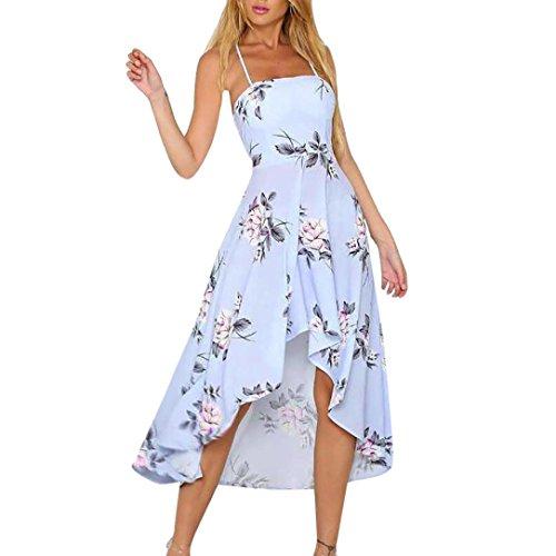 Damen Damen Printed Gurt unregelmäßiger Saum Kleid, mamum Damen Urlaub Dekolleté Damen Maxi Sommer lange floral print Beach Kleid Größe S blau