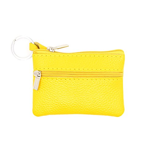 YSoutstripdu Coin Purse for mom Candy Color Genuine Leather Coin Pouch Wallet Car Key Case Holder Keyring - Black/Blue/Coffee/red/Yellow (Coin Candy)