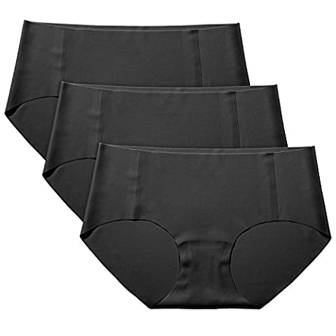 Lapasa 3 PACK Women's Seamless Briefs - INVISIBLE PANTY LINES - Cotton Crotch Low Rise Raw Cut Elastic Free Knickers Black, XL / UK 16-18 (Waist